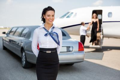white limousine in airport
