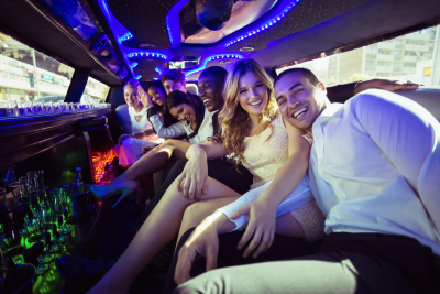 groom and bride in a limousine
